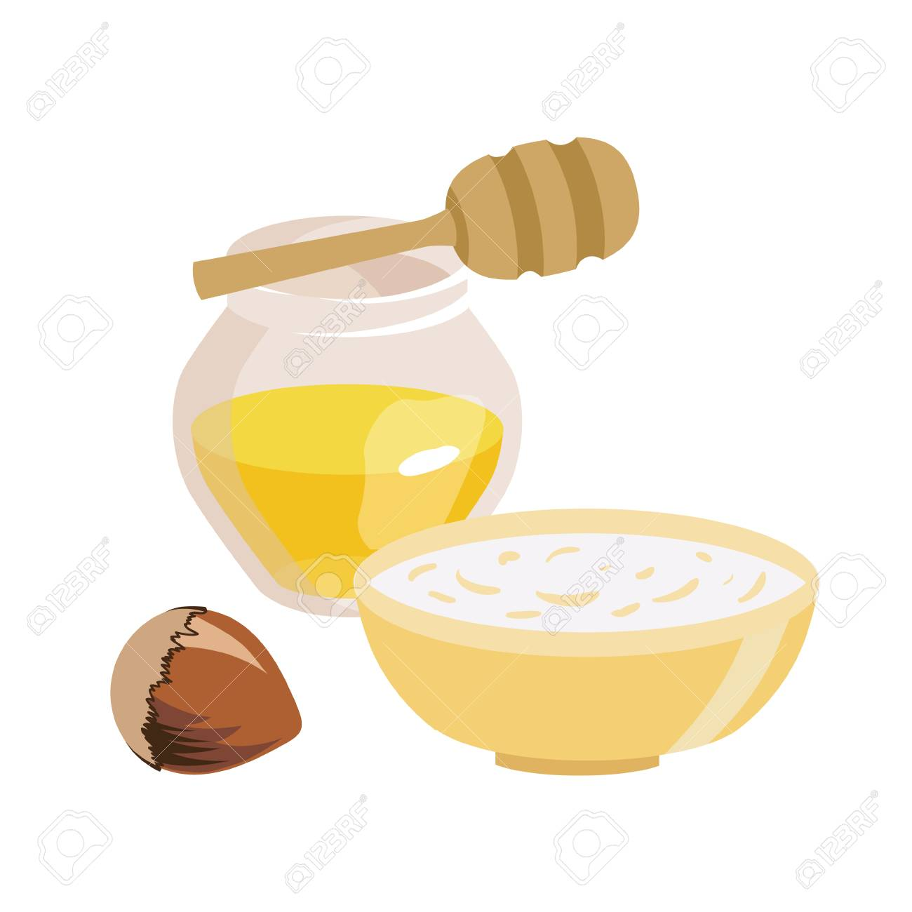 Series of icons for the Easter theme. Dietary food. Food for Lent time. Transparent jar with honey. A bowl of oatmeal. Hazelnut. Wooden stick for honey. Isolated vector illustration - 116196029