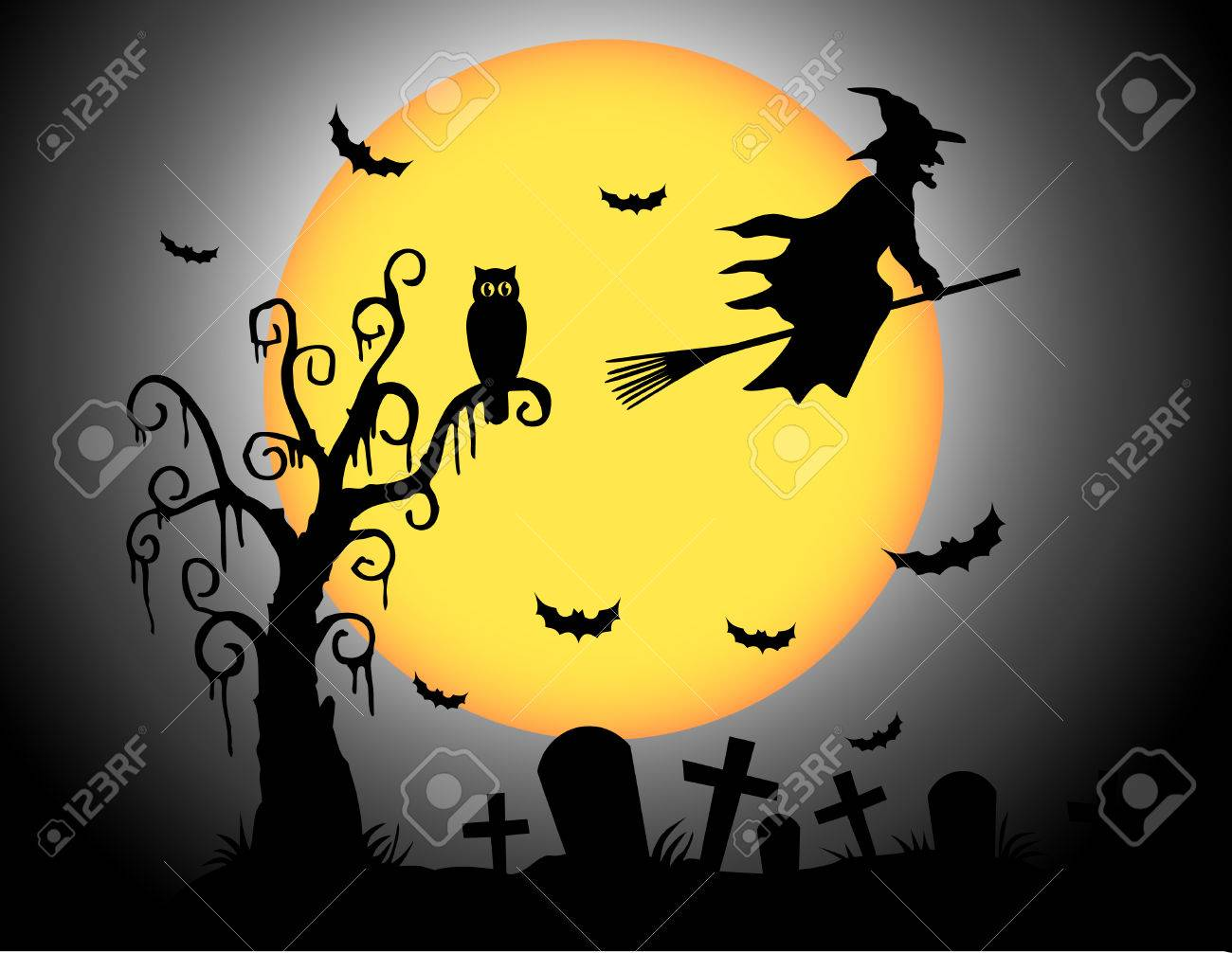 Halloween Moon Royalty Free Cliparts, Vectors, And Stock ...