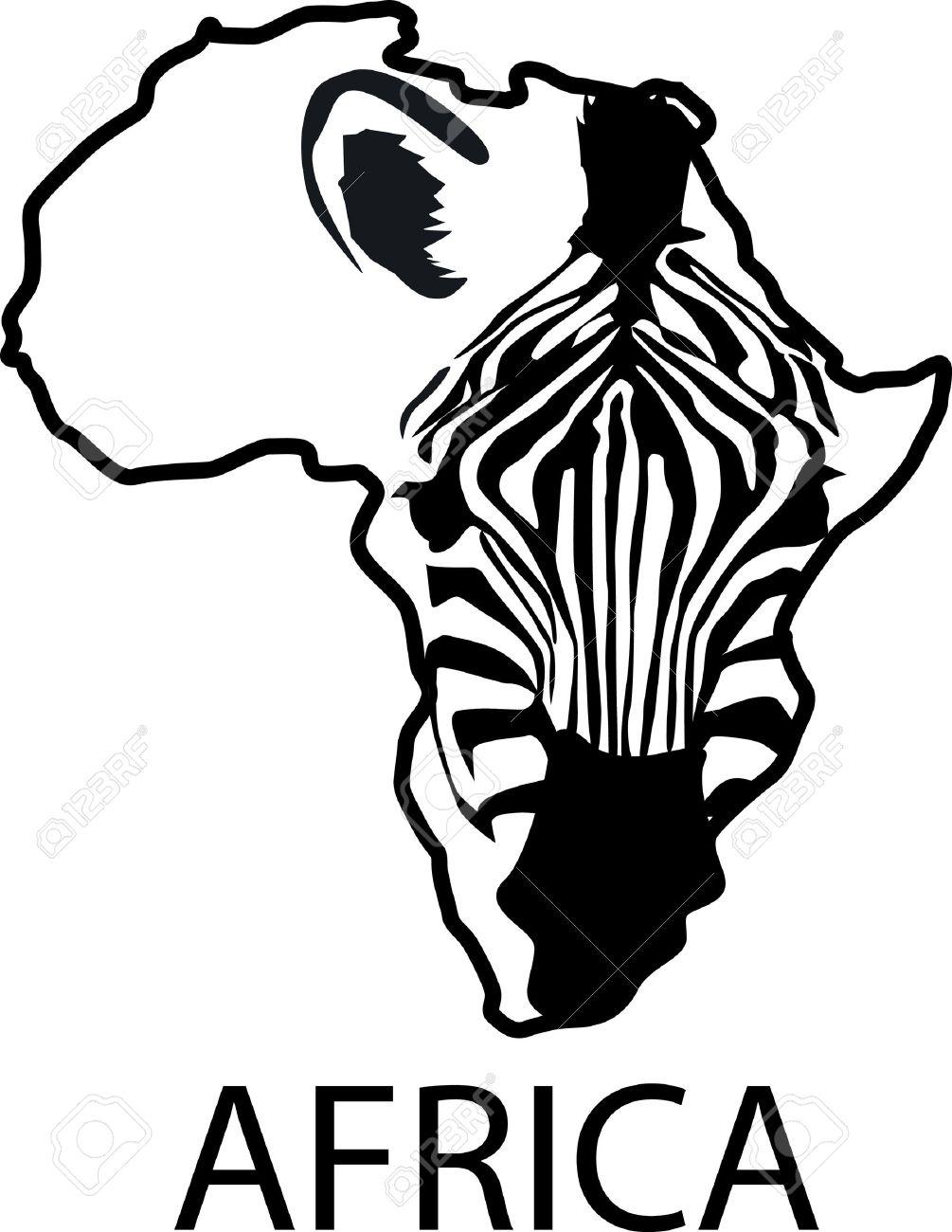 Silueta De Cebra Enmarcada Por El Continente De África Ilustraciones ...