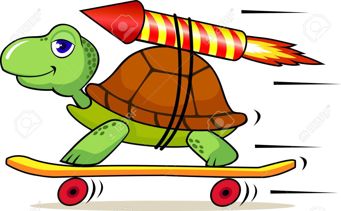 Turtle With Rocket To Increase Speed Royalty Free Cliparts ...