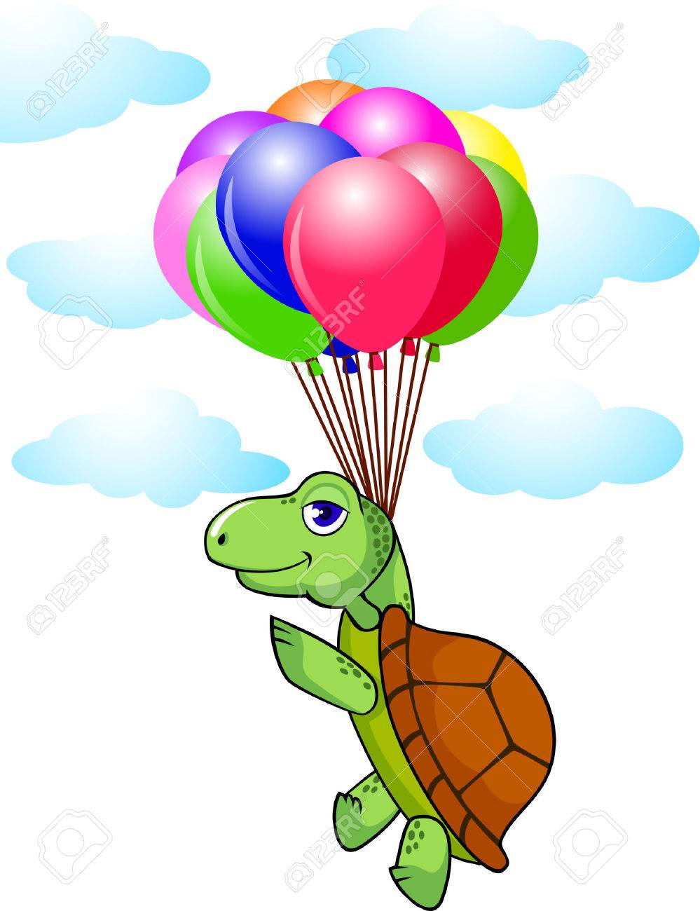 Cute turtle fly with balloon Stock Vector - 6856261