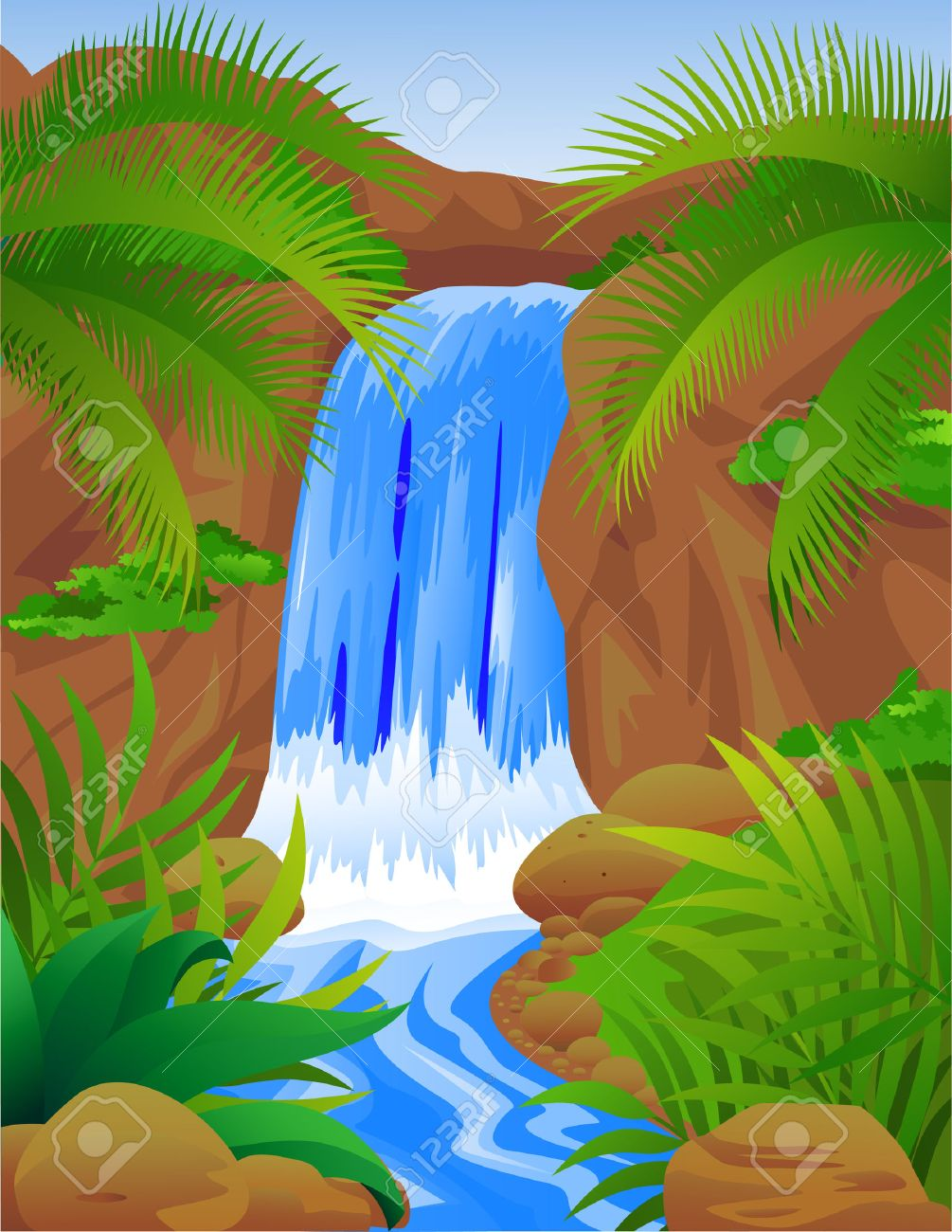 Beautiful waterfall Stock Vector - 6898636