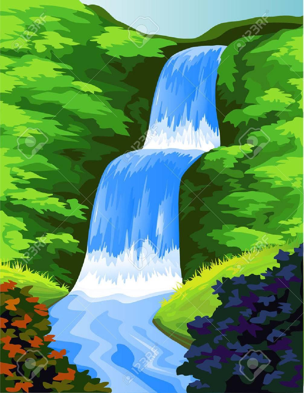 Beautiful waterfall Stock Vector - 6987156