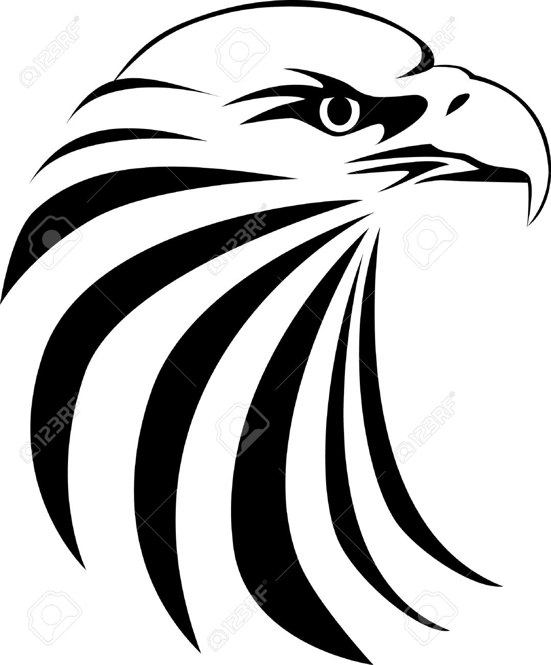 Eagle head tattoo Vector  Eagle Head Silhouette