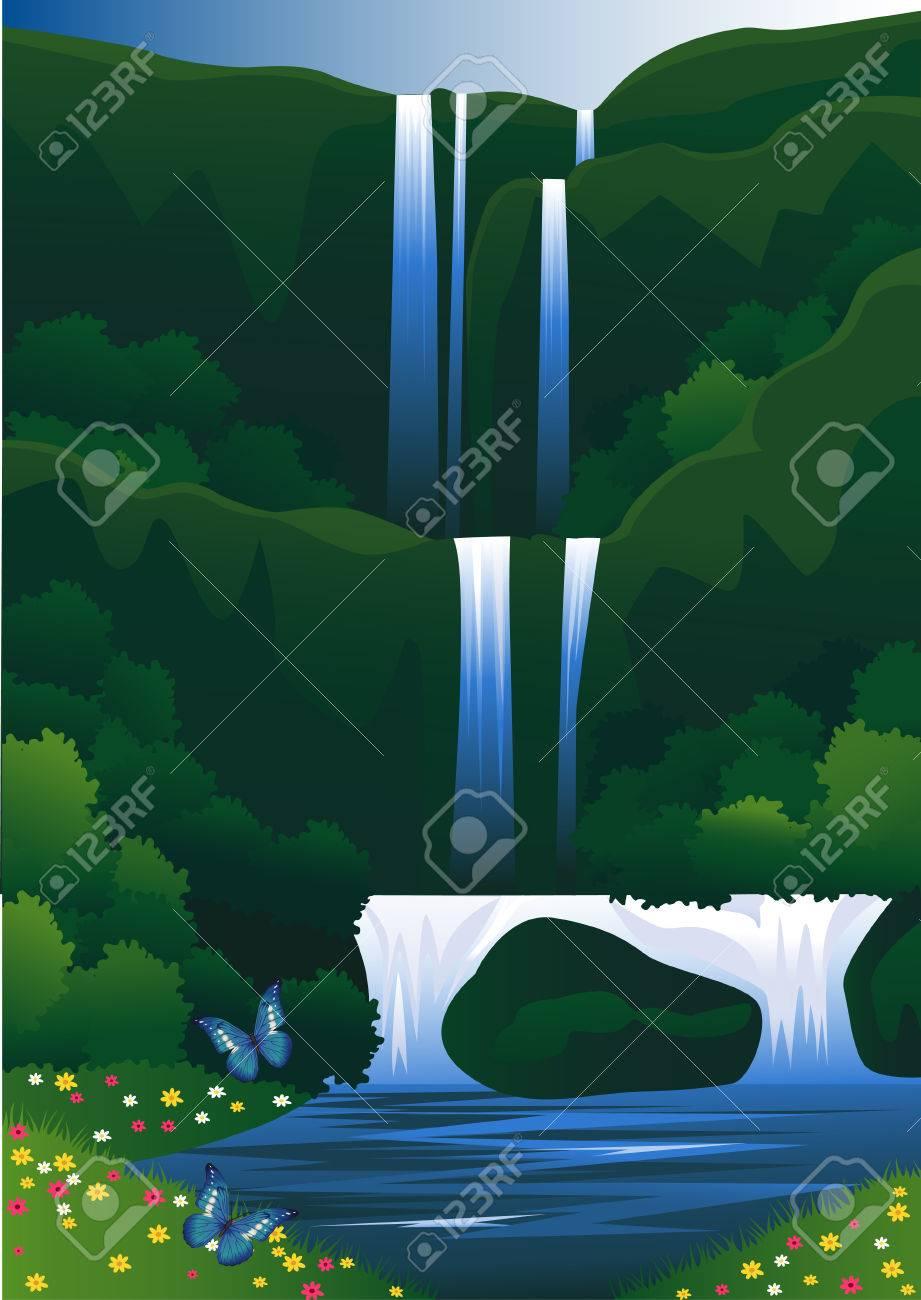 beautiful waterfall Stock Vector - 8507248