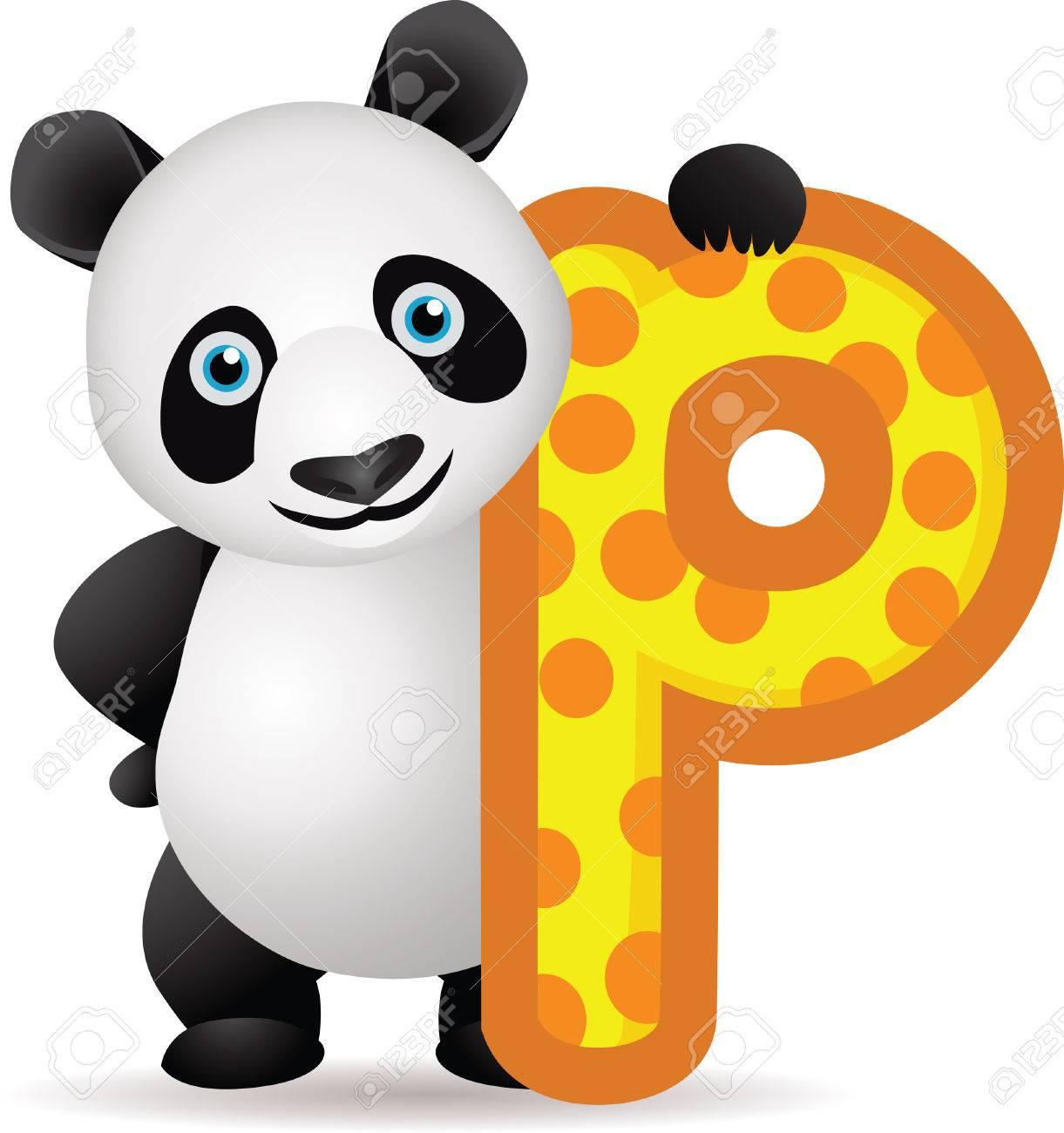 alphabet P with Panda cartoon Stock Vector - 8660701