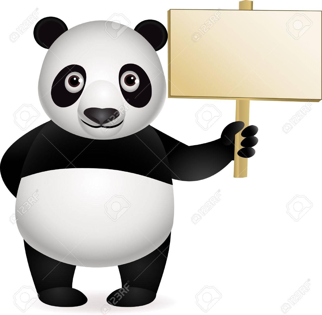 Panda cartoon and blank sign Stock Vector - 9569129