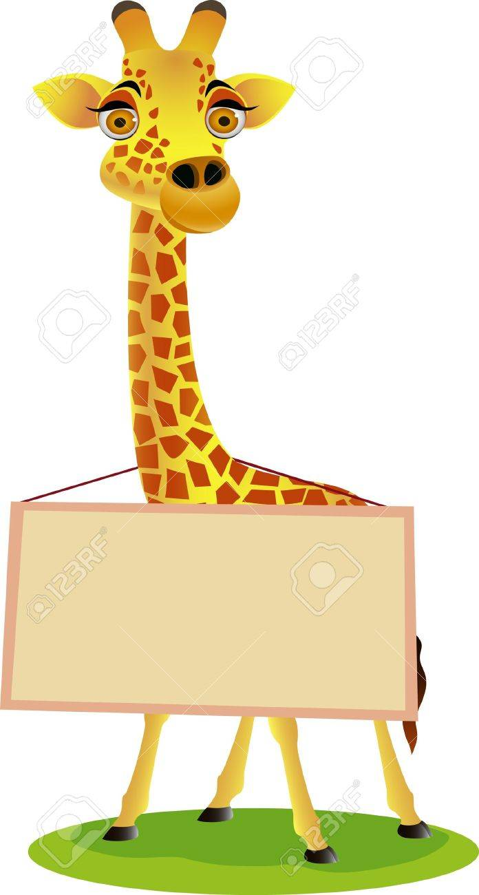 Giraffe cartoon and blank sign Stock Vector - 9698962