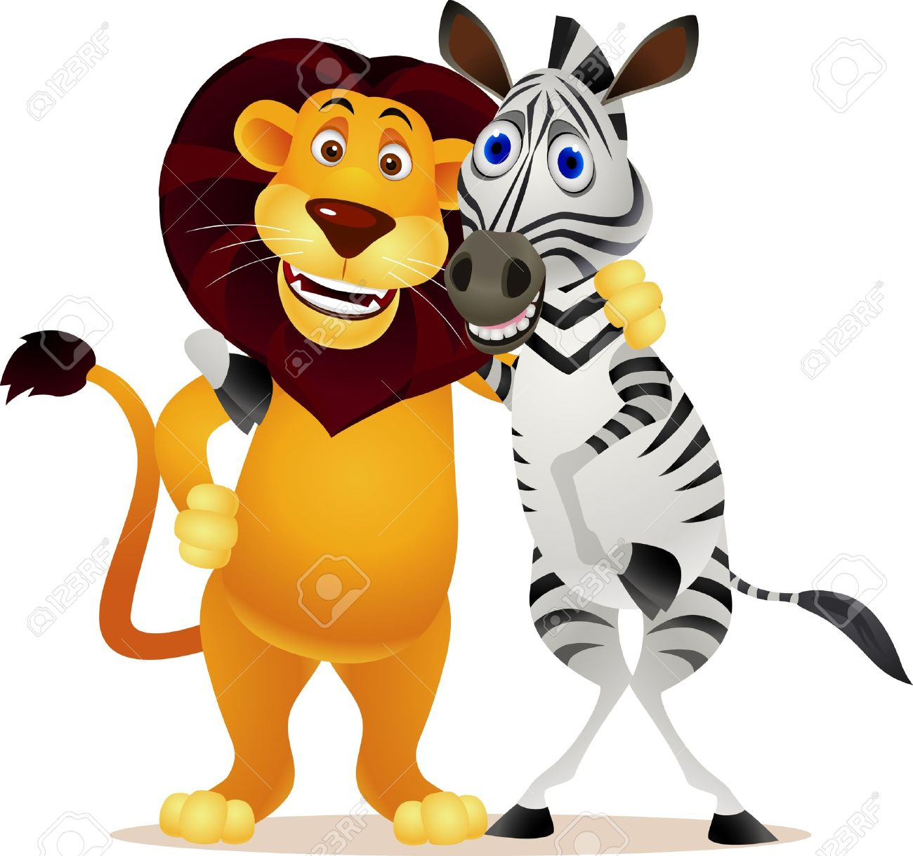 Zebra and lion Standard-Bild - 9698979
