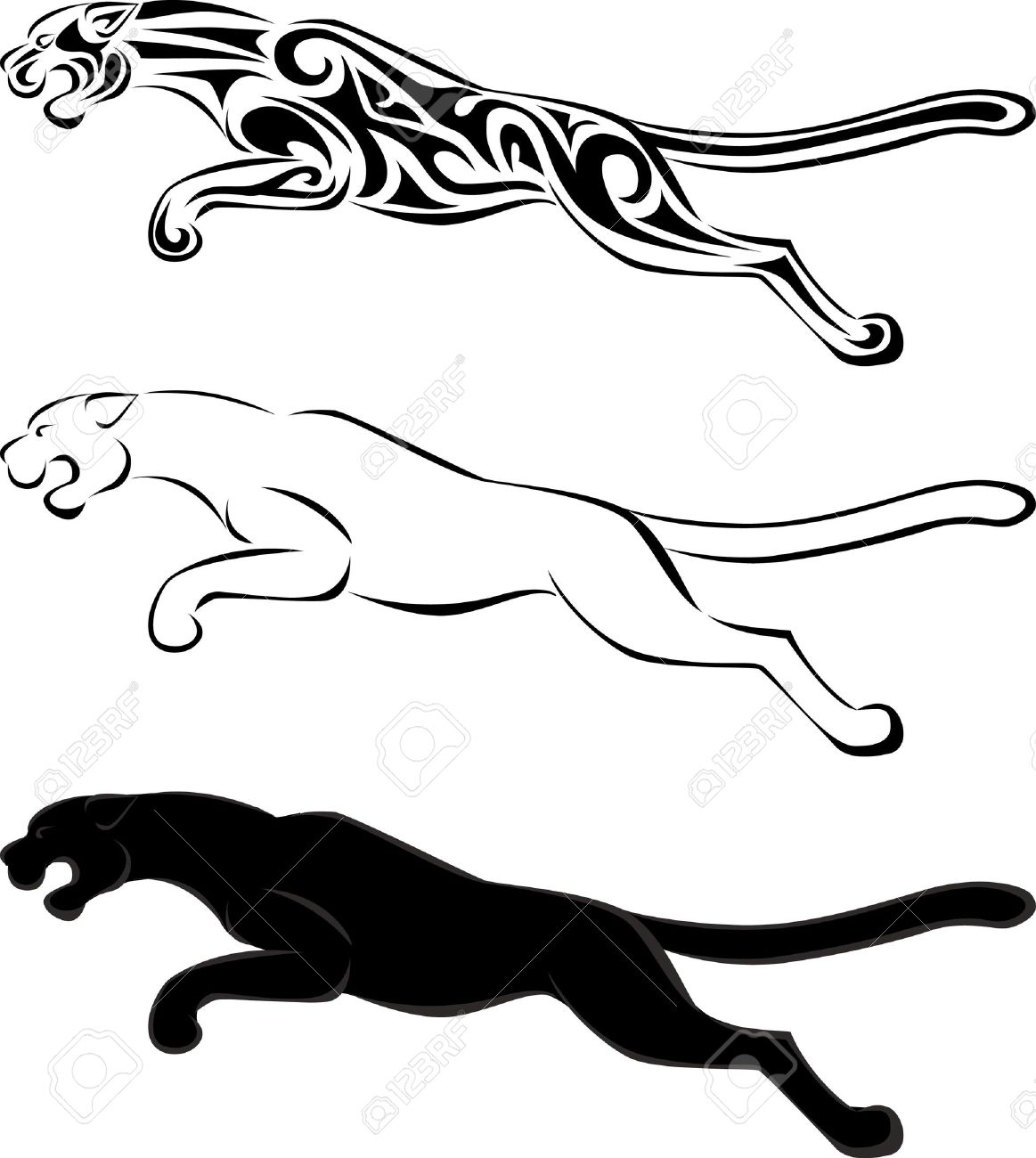 27bc58d2e0bf0 Jaguar Tribal Tattoo And Silhouette Royalty Free Cliparts, Vectors ...