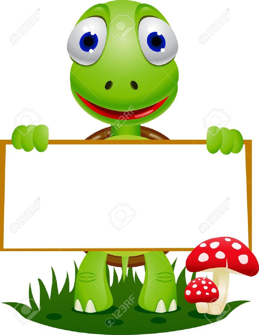 Turtle and blank signboard Stock Vector - 9930237