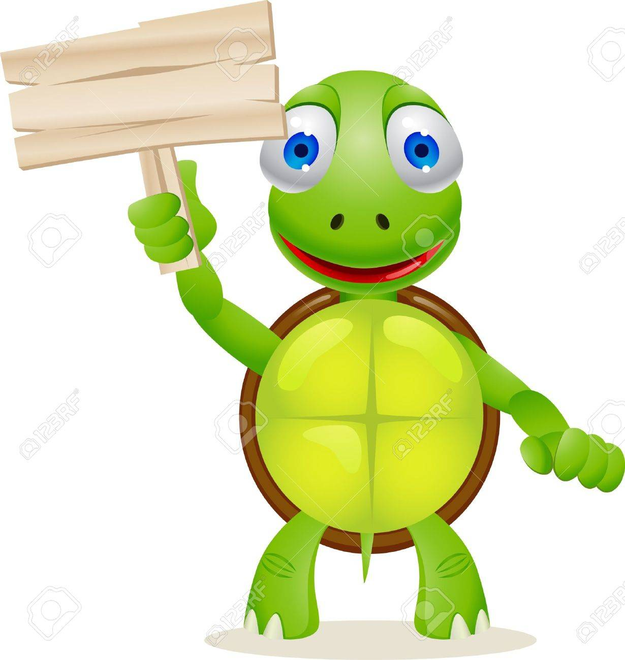 turtle and blank signboard royalty free cliparts vectors and