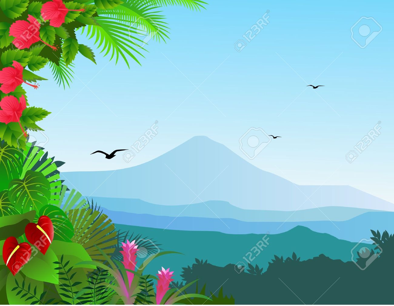 tropical forest background royalty free cliparts vectors and stock rh 123rf com tropical rainforest clipart tropical rainforest waterfall clipart
