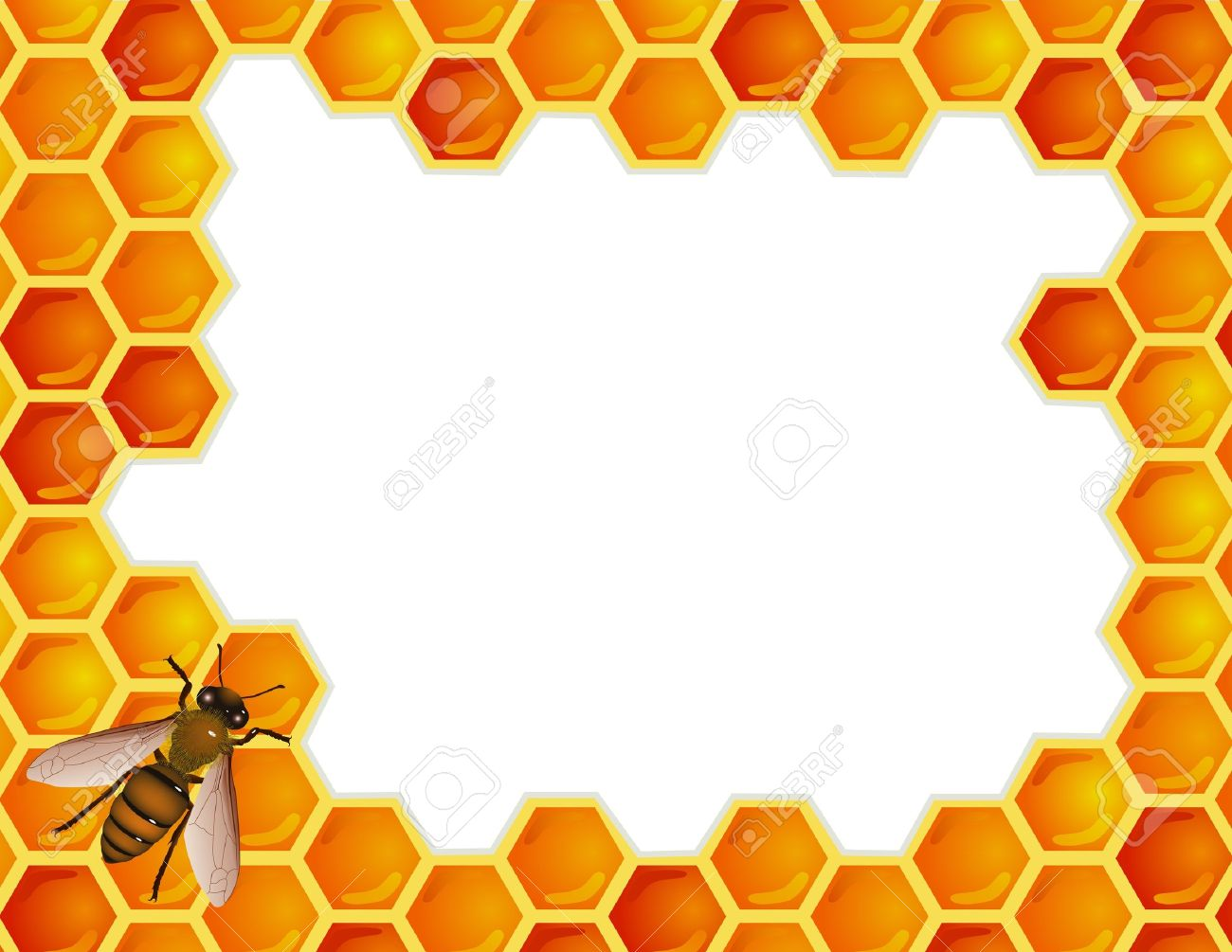 Bee with honey comb - 12152547