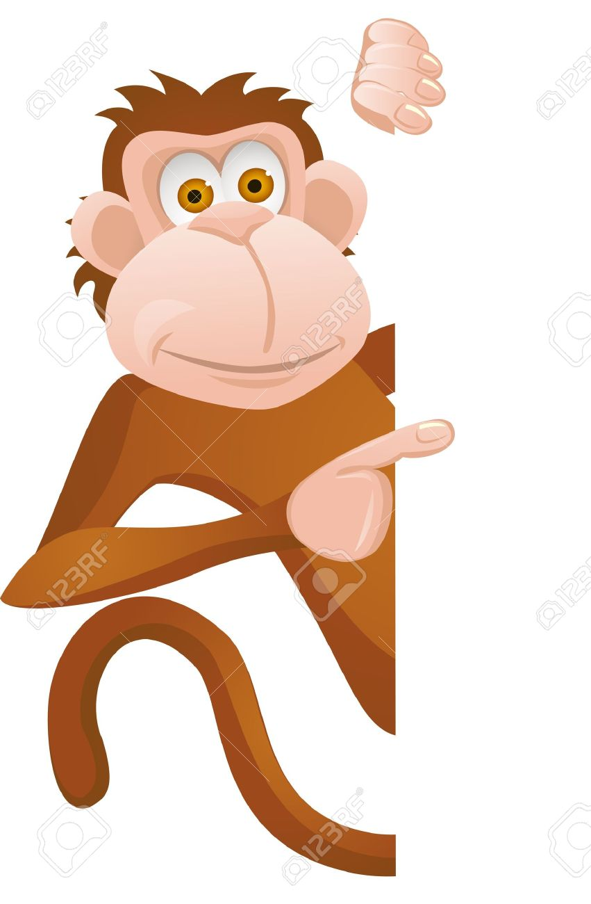 Funny monkey with blank sign Stock Vector - 12152502