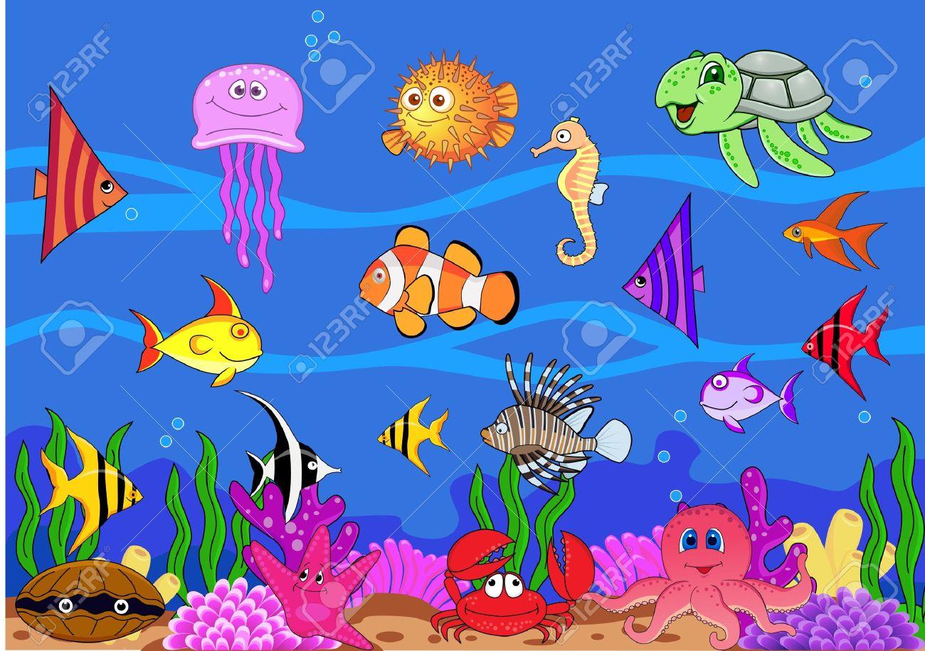 Fish tank drawing pictures - Aquarium Drawing Sea Life Stock Photo