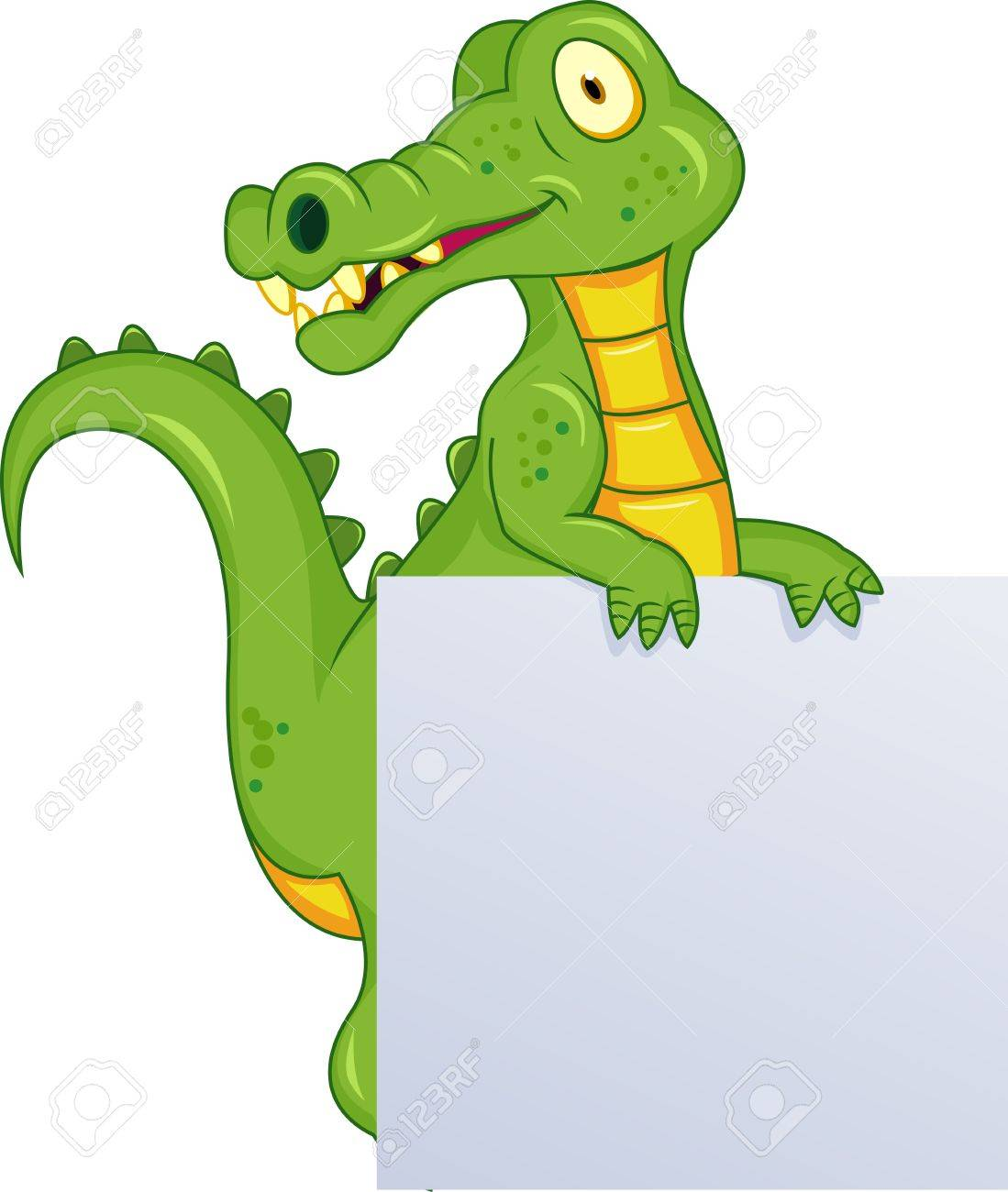 Crocodile with blank sign Stock Vector - 12152630