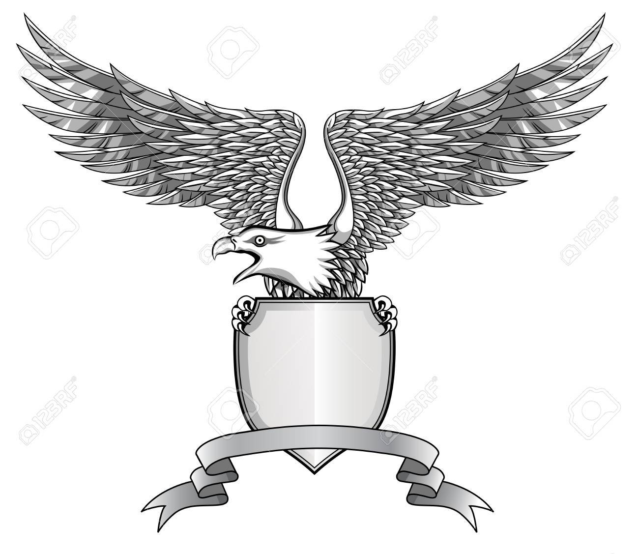 Eagle with emblem Stock Vector - 12152725
