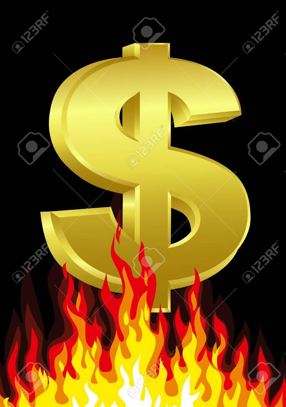 Dollar On Fire Stock Vector - 13349863