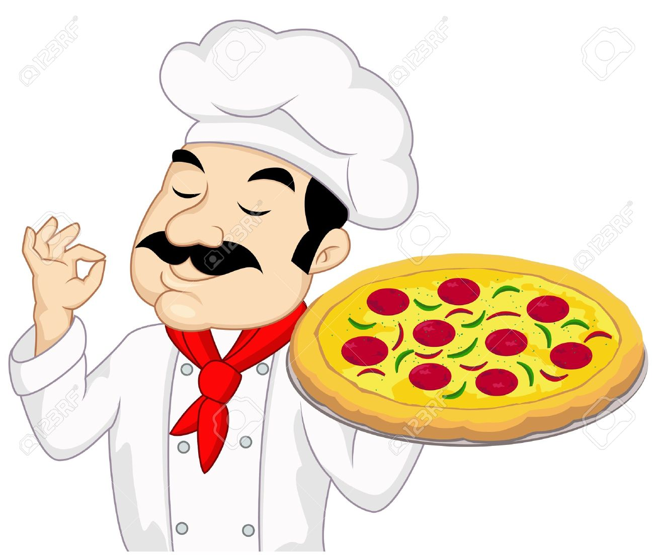 Chef with pizza Stock Vector - 13281645