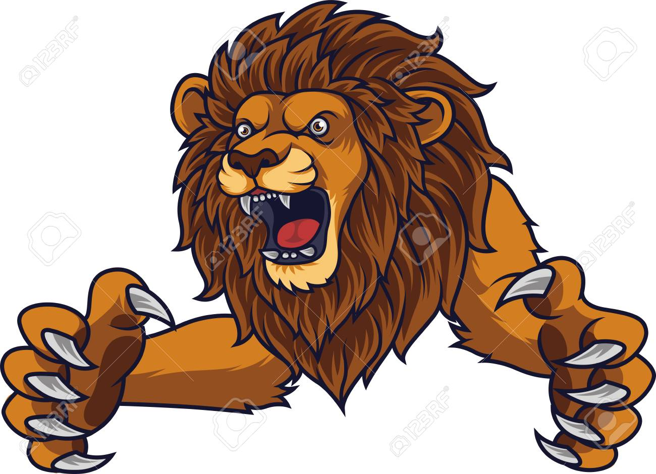 Angry leaping lion - 113935845