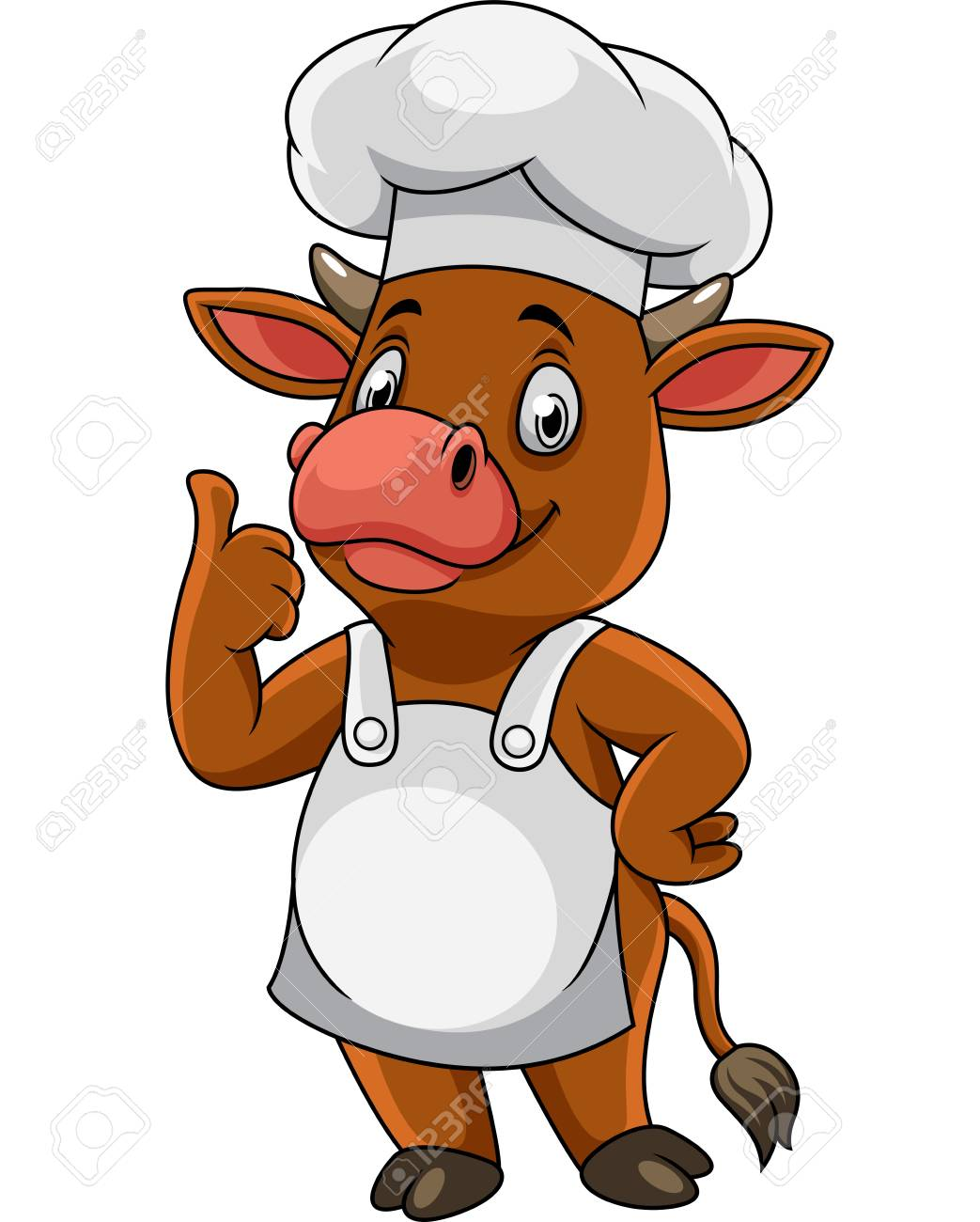 Cartoon happy cow chef giving thumbs up - 113935888
