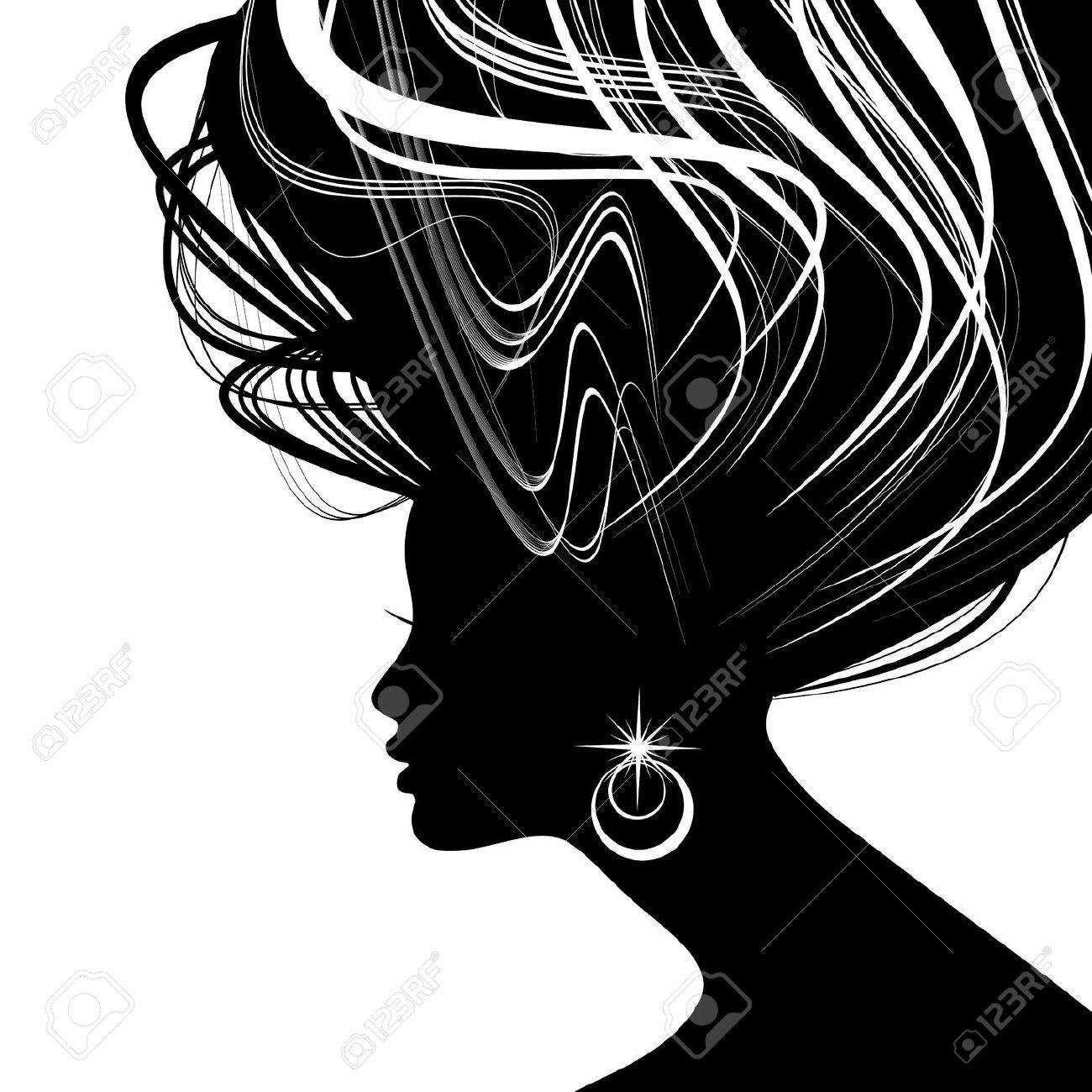 Woman face silhouette with wavy hair Stock Vector - 15906104