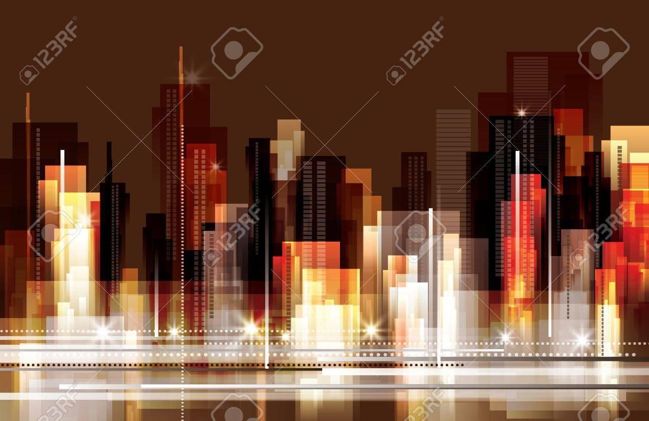 City skyline at night - 16301083