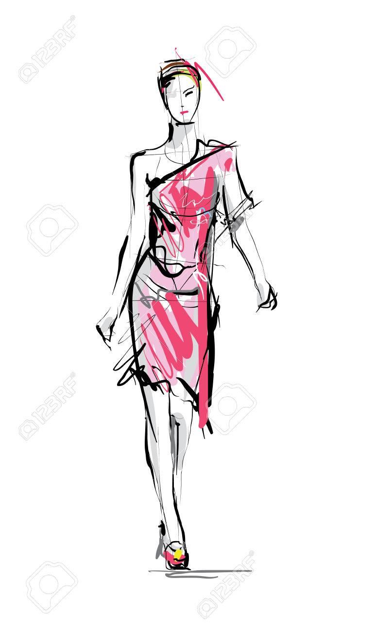 Fashion model. Sketch. - 56068231