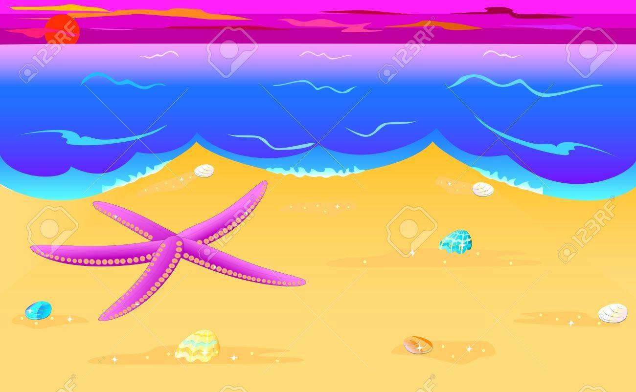 Vector illustration of sea star and seashells on the seacoast Stock Vector - 14755371