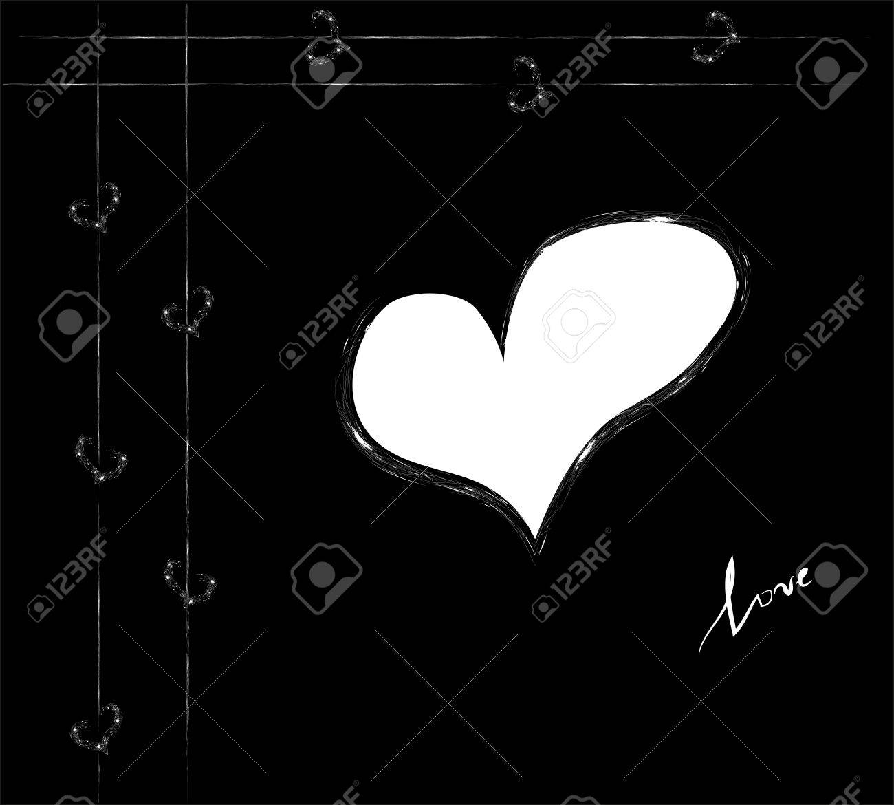 Vector contrast white heart on the bllack background