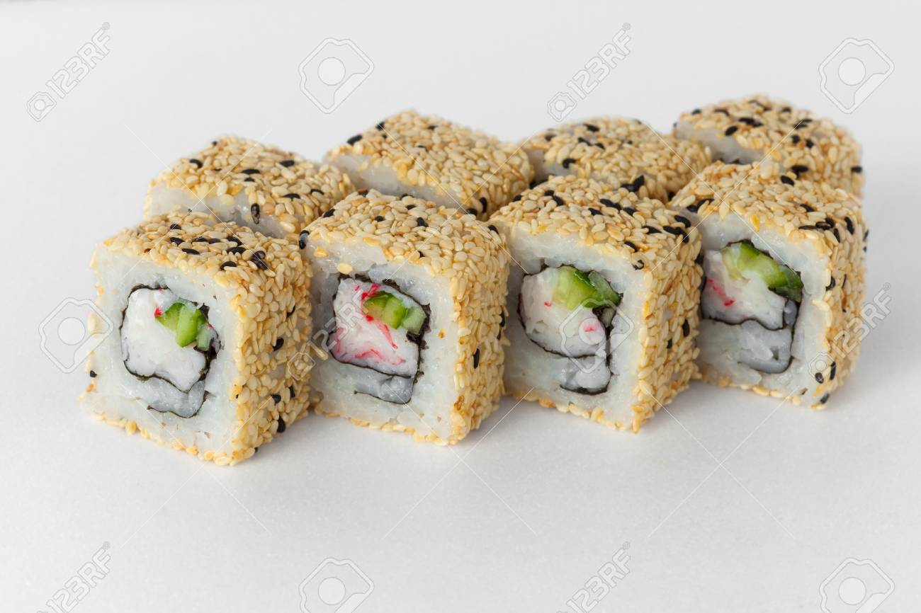 Sushi Rolls With Cucumber And Sesame Seeds