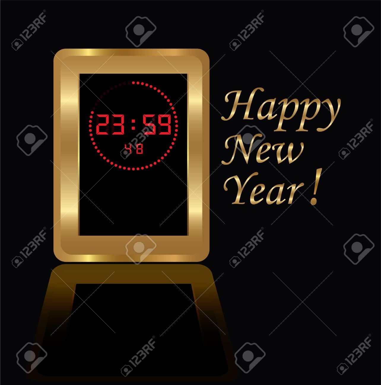 golden digital clock Stock Vector - 8191559