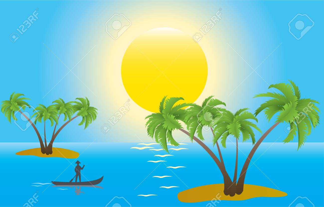 illustration of tropical palm islands in the morning Stock Vector - 8254066