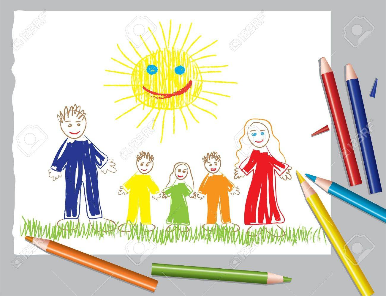 vector illustration of happy family and the sun Stock Vector - 9648825