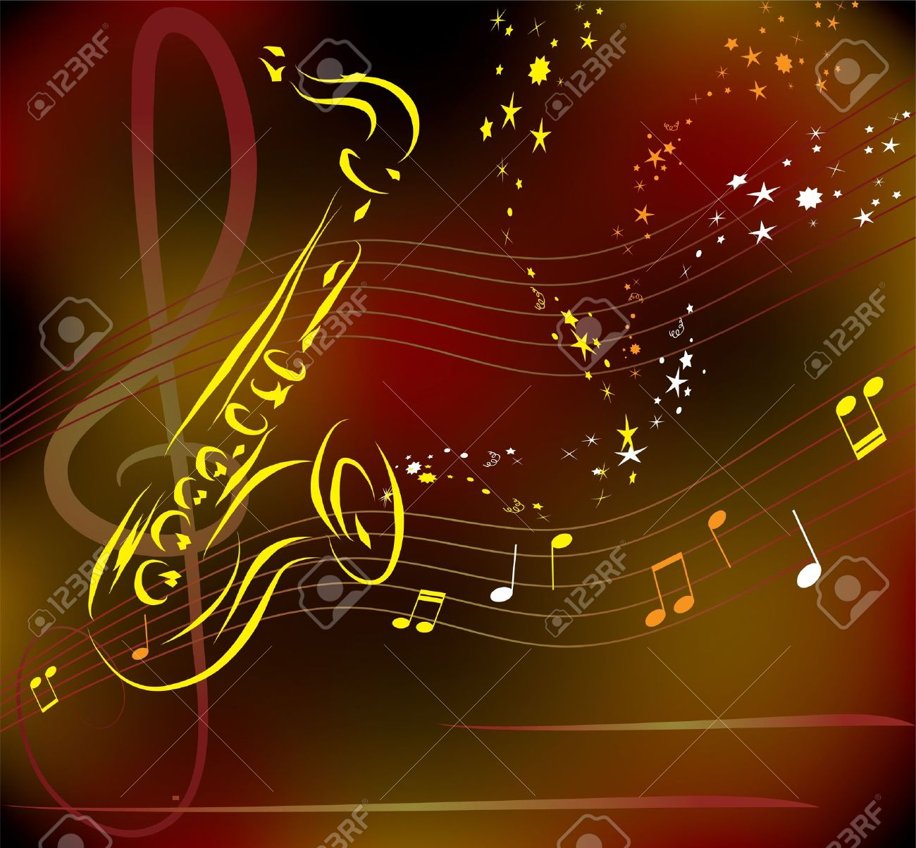 vector stylized saxophone on abstract background Stock Vector - 9710544