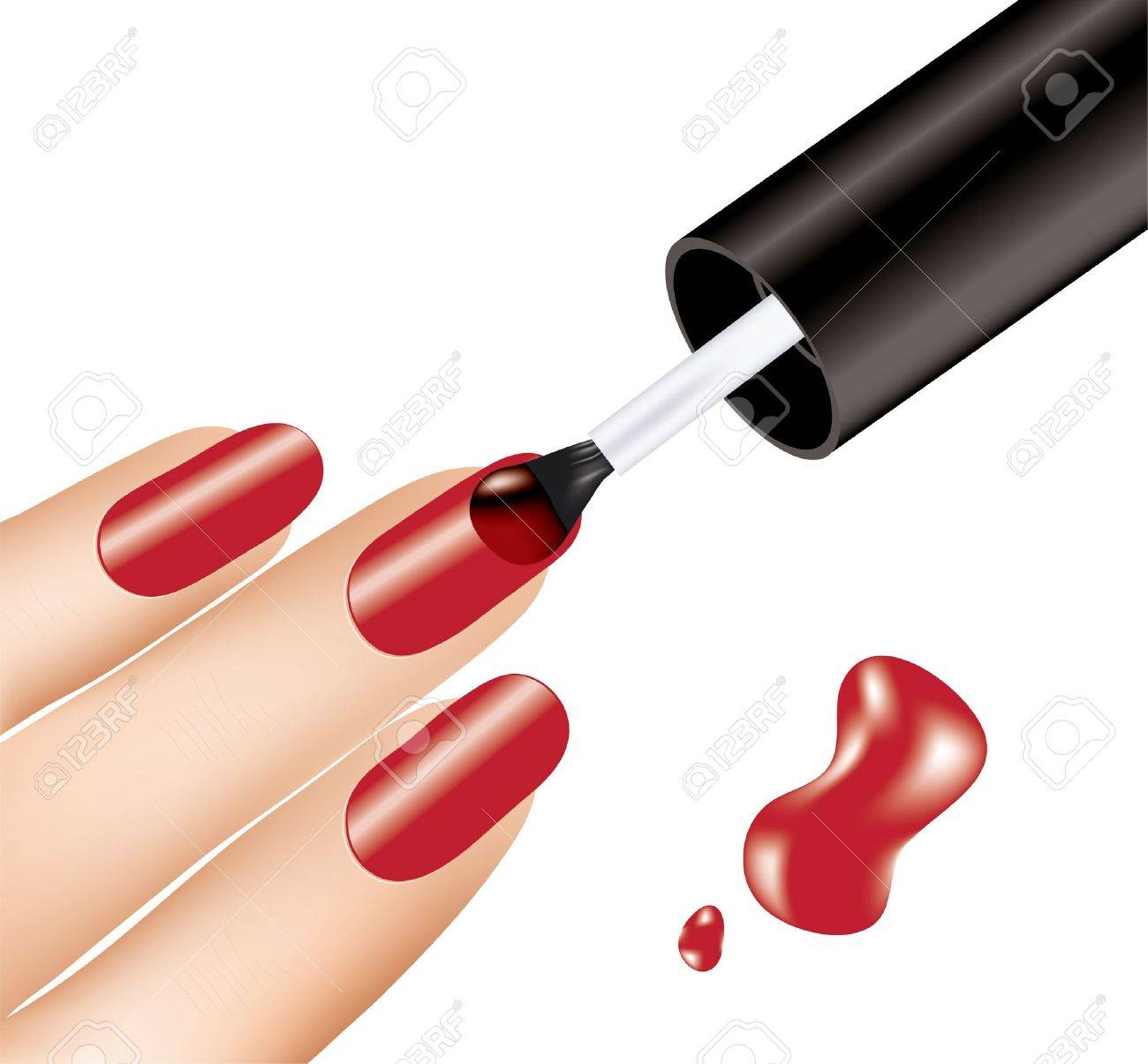 Woman Applying Red Nail Polish On Fingers, Vector Royalty Free ...