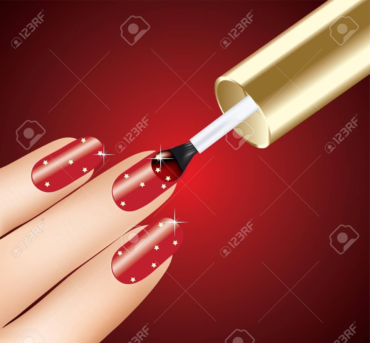 Mujer De Aplicar El Esmalte De Uñas De Color Rojo En Los Dedos ...