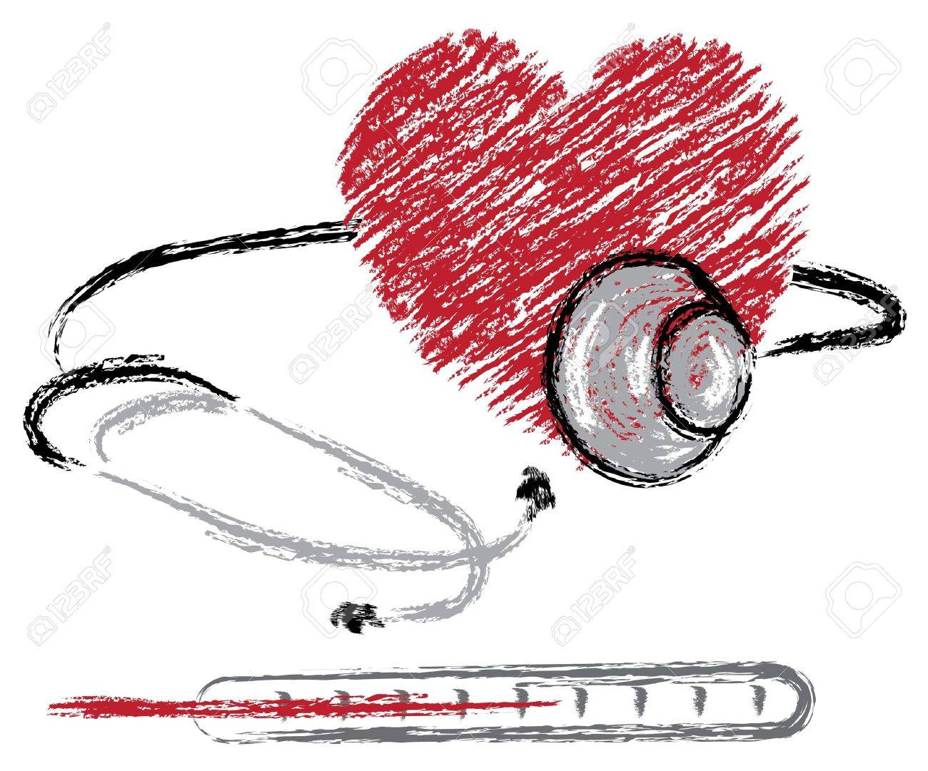 medical sketch of heart, stethoscope and thermometer Stock Vector - 9928907