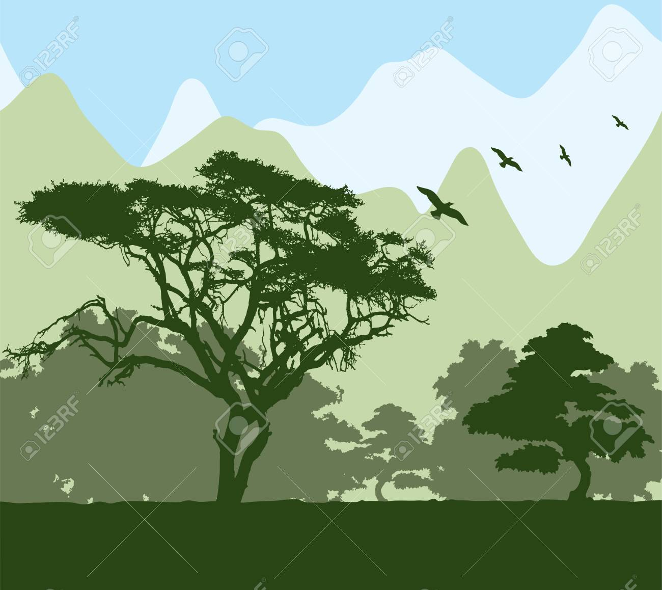 Forest and mountains Stock Vector - 10615057