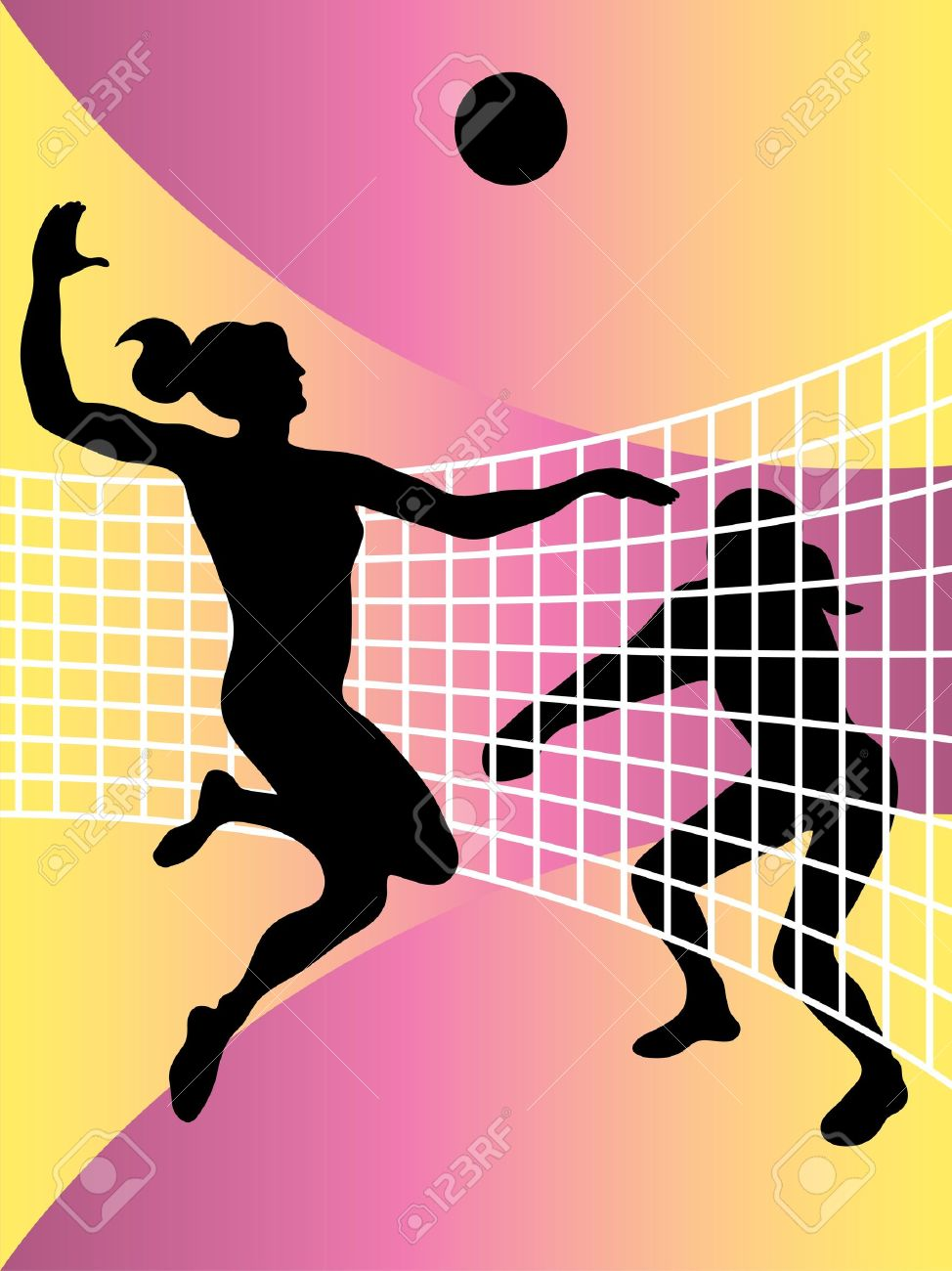 vector abstract illustration of volleyball players Stock Vector - 11083755