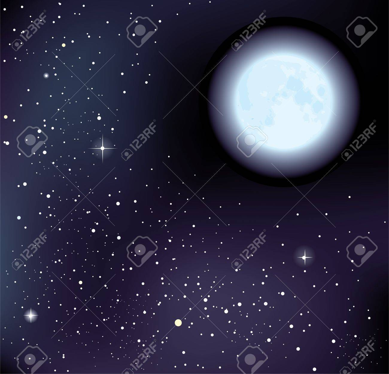 starry sky and moon. Stock Vector - 11811577