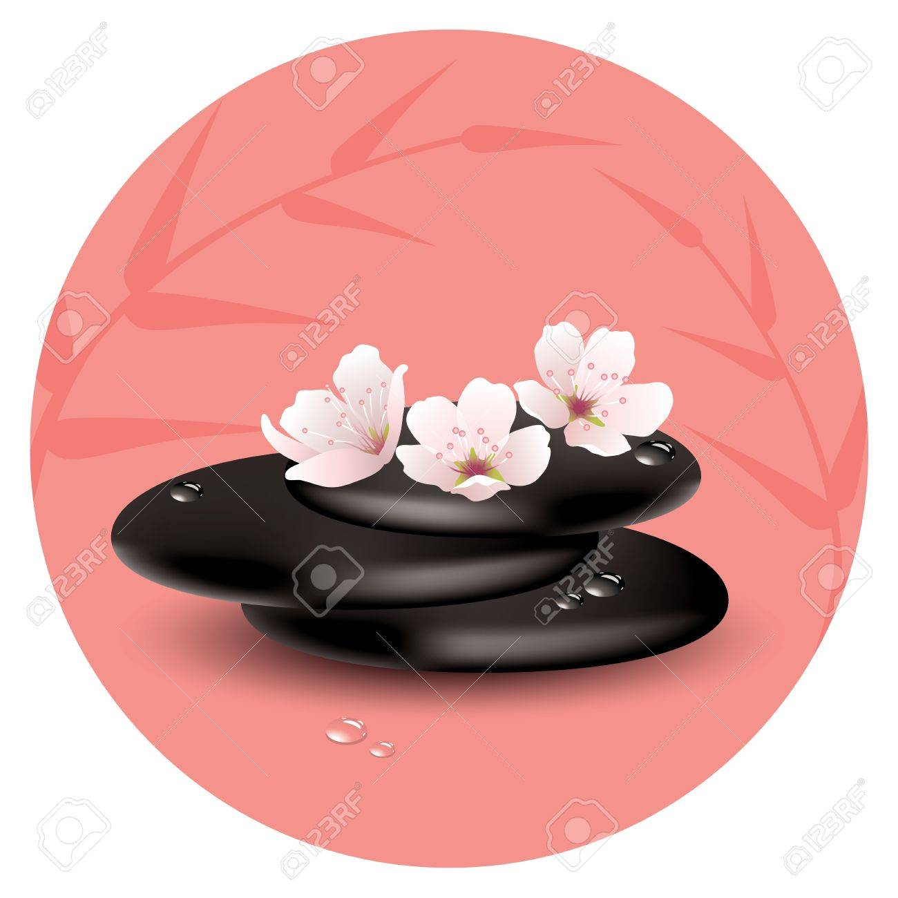 zen stones and cherry flowers Stock Vector - 16948122