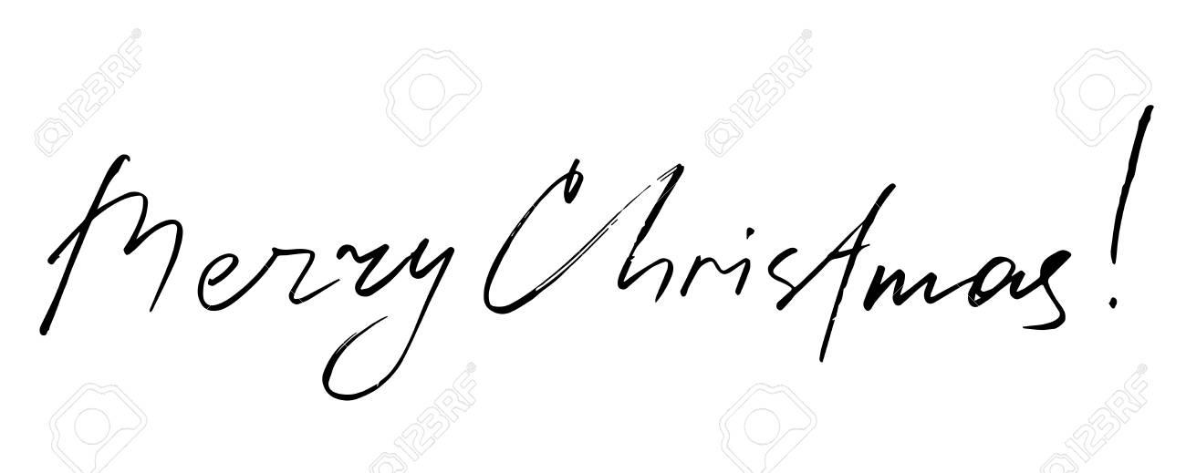 ロゴベクトルの手には、文字が描画されます。メリー クリスマス , 動機付けの引用。手書きレタリング