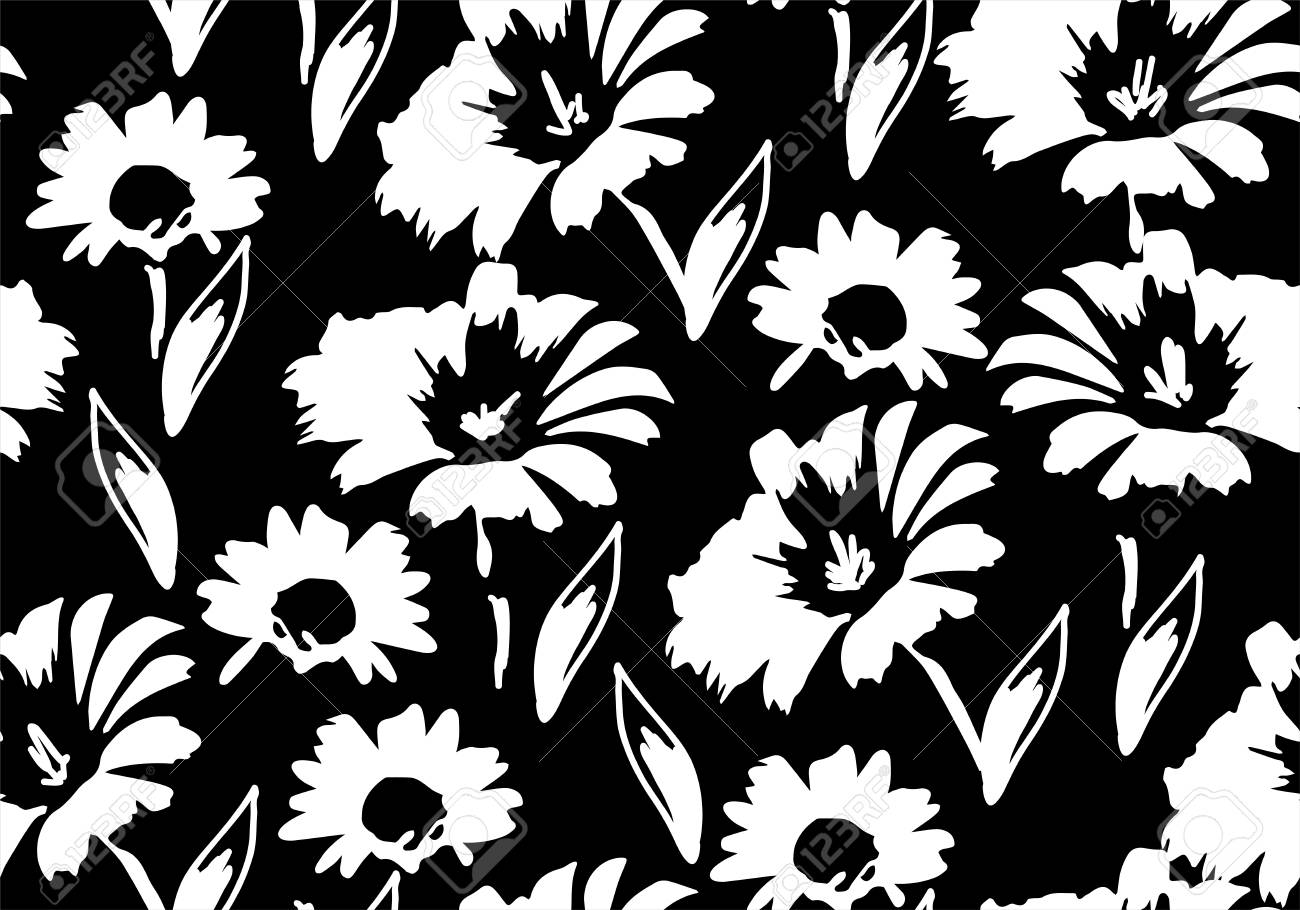 Vector Seamless Floral Pattern With Daisy Flowers Floral Background
