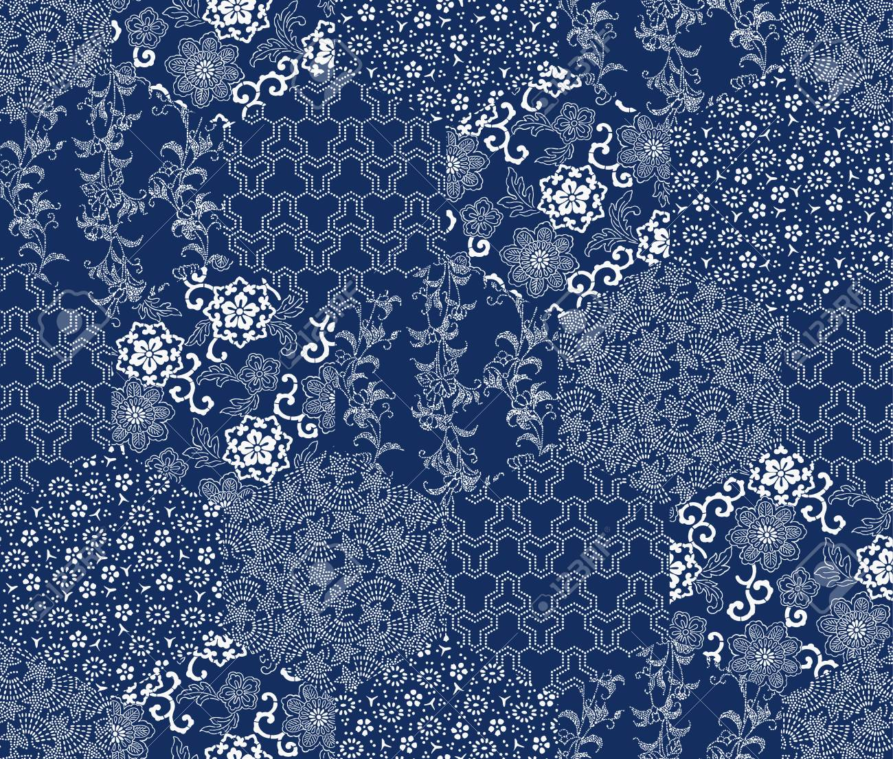 Japanese style pattern patchwork - 47817413
