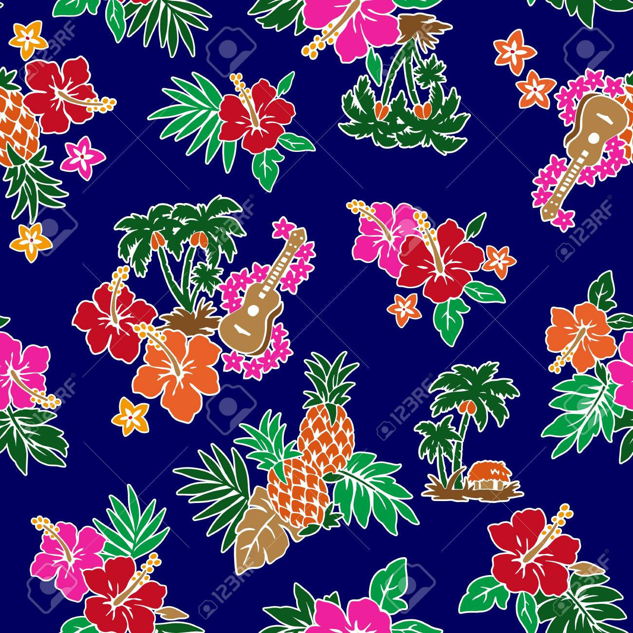 Hibiscus Flower Pattern Royalty Free Cliparts Vectors And Stock Illustration Image 71033588