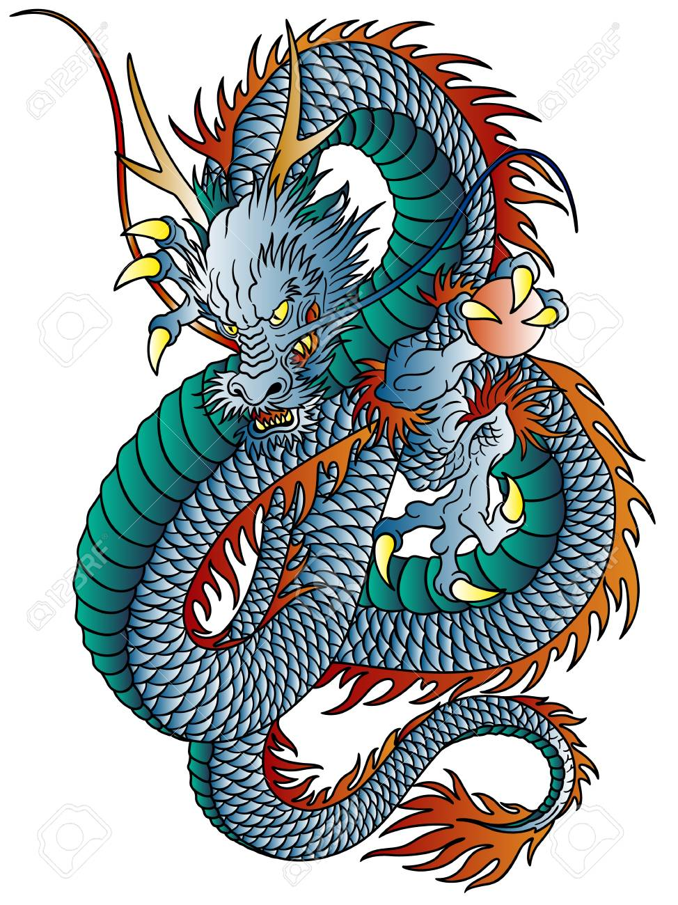 Japanese Style Dragon Illustration Isolated On White Royalty Free Cliparts Vectors And Stock Illustration Image 90602991