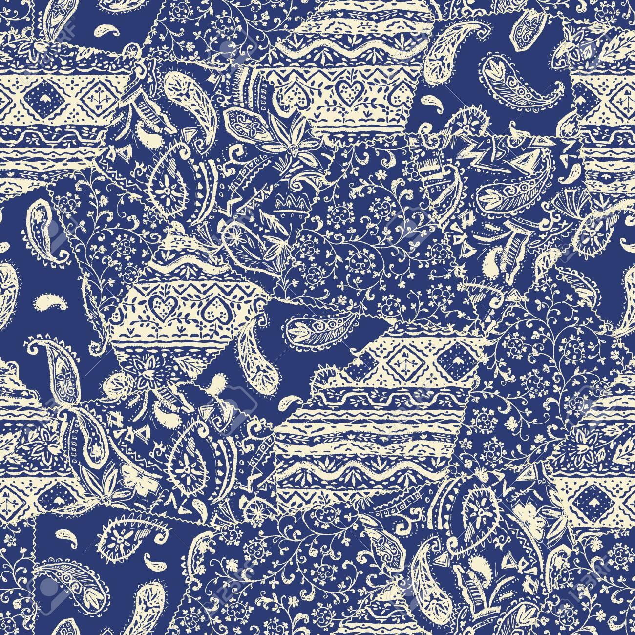 Beautiful chintz design patchwork pattern material, - 131470169