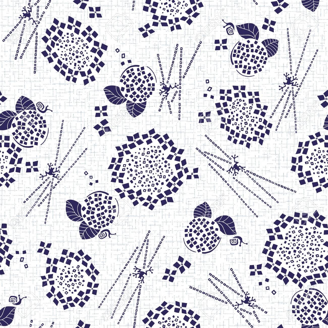 Abstract Japanese style hydrangea pattern, - 134257516